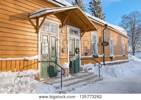 LAPPEENRANTA, FINLAND - FEBRUARY 18, 2010: Majurska Cafe in Willmanstrand Fortress last territory. House was built in the mid 18th as a residential building for the families of the officers