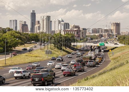 AUSTIN TX USA - APR 11: Heavy traffic on the highway near Austin City. April 11 2016 in Austin Texas United States