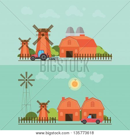 Set of agriculture farmhouse with wind mill tractor and car isolated on green background.