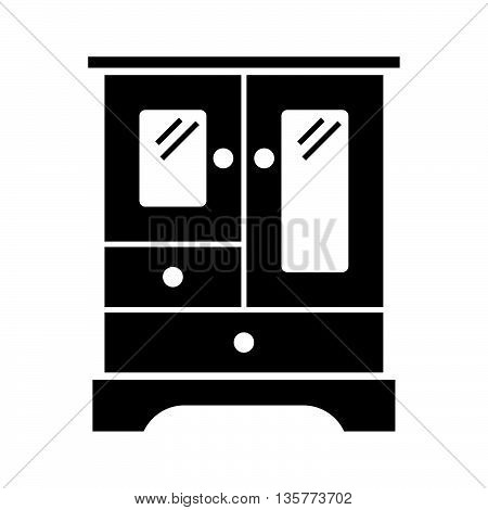 Vintage small cabinet with glass doors on white background
