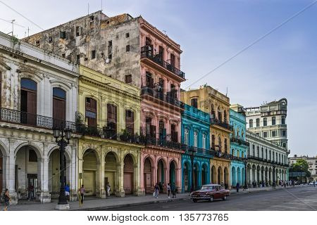 HAVANA, CUBA - JULY 05, 2015: The mainstream and architecture in Havana Cuba