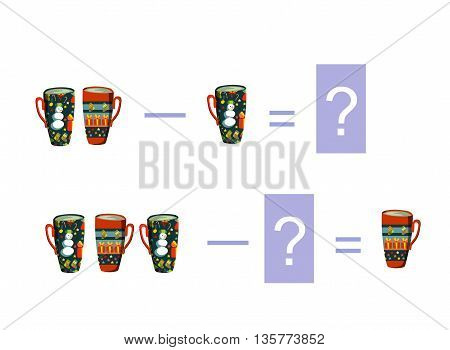 Cartoon illustration of mathematical subtraction. Examples with teacups. Educational game for children.