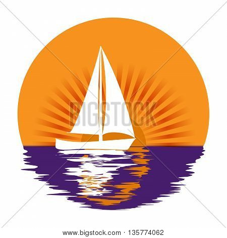 Yacht on a background of sun rays Logo