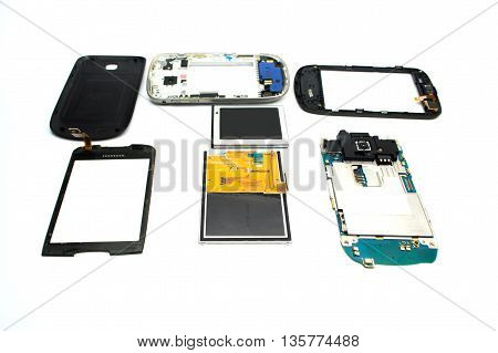 Parts Of The Device, A New Electrode Material Was Issued For Repair On White Background.