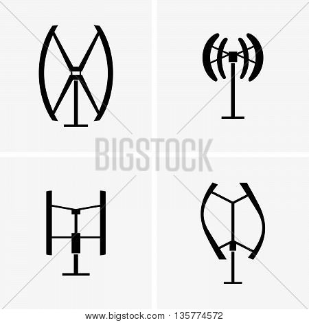 Set of four vertical axis wind turbines