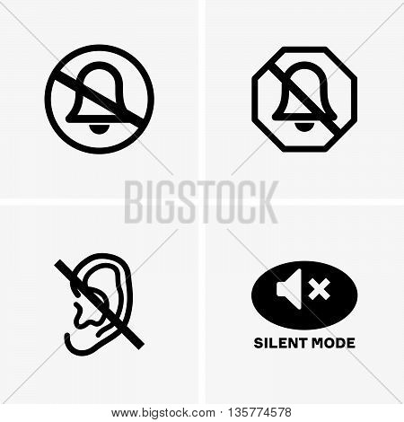 Set of four silent modes on grey background