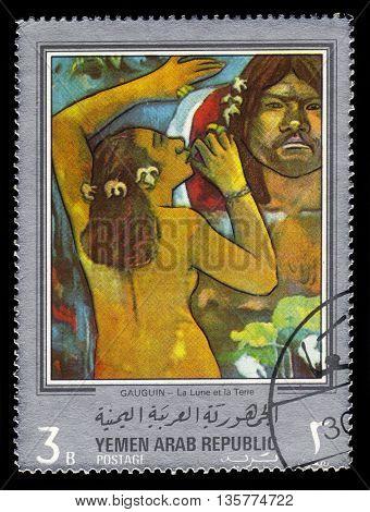 Yemen - CIRCA 1968: stamp printed in Yemen Arab Republic, shows painting by Paul Gauguin, Hina Te Fatou (Moon and earth) (1893), circa 1968