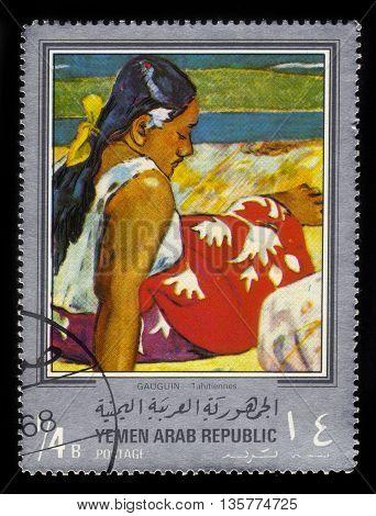 Yemen - CIRCA 1968: stamp printed in Yemen Arab Republic, shows painting by Paul Gauguin, Tahitian Women, circa 1968