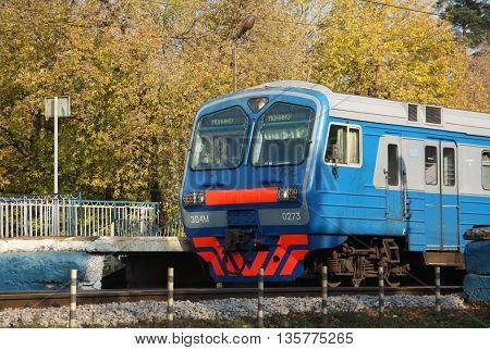 Modern electric train in Moscow region, Russia