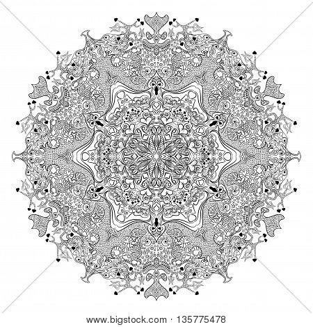 Coloring book or tatoo with complex mandala. Vector illustration