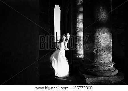 Awesome Wedding Couple Background Columns Of Old Castle Church