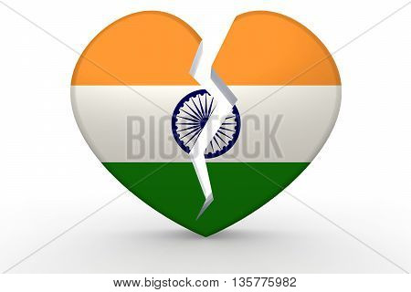 Broken White Heart Shape With India Flag