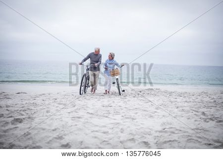 Happy senior couple with their bike on the beach
