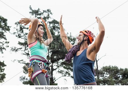 Low angle view of couple giving high five against trees at forest