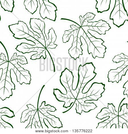 Seamless Tile Pattern, Fig Tree Green Leaves Outline Contour Pictograms Isolated on White Background. Vector