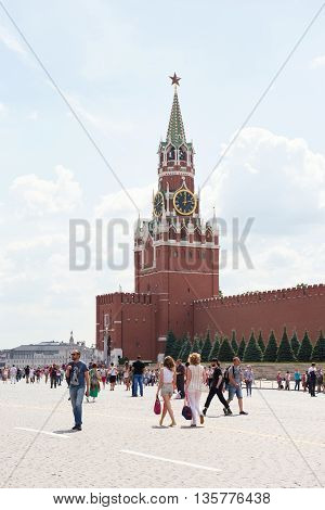 Moscow, Russia - June 24, 2016: Spasskaya Tower Of Kremlin At Red Square