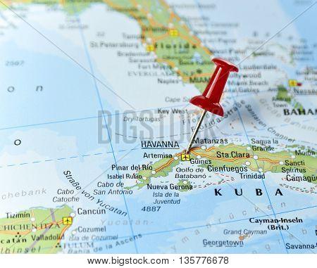 Map with pin set on Havana, Cuba.