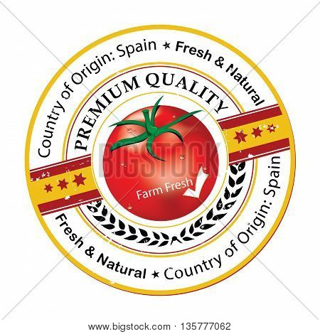 Tomatoes stamp / label. Country of origin: Spain. Premium Quality. Print colors used