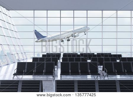 Airport waiting area interior with rows of empty seats city view and a flying by airplane. 3D Rendering