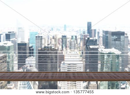Business risk and success concept with suspended bridge with New York city in the background. 3D Rendering
