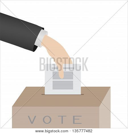 hand cast ballots on a white background in the vote box