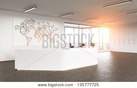 Business traveling concept with polygonal map on whiteboard in office reception interior with sunlight and city view. 3D Rendering