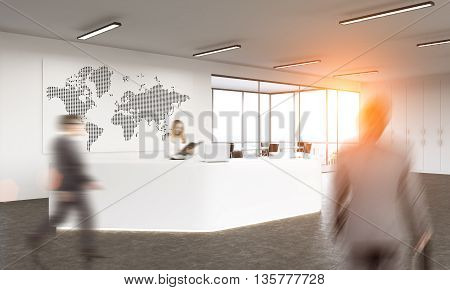 Business traveling concept with abstract grid map on whiteboard in office reception interior with sunlight and passing by blurry businesspeople. 3D Rendering