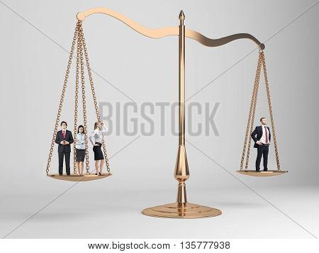 Scales of justice with businesspeople on light grey background