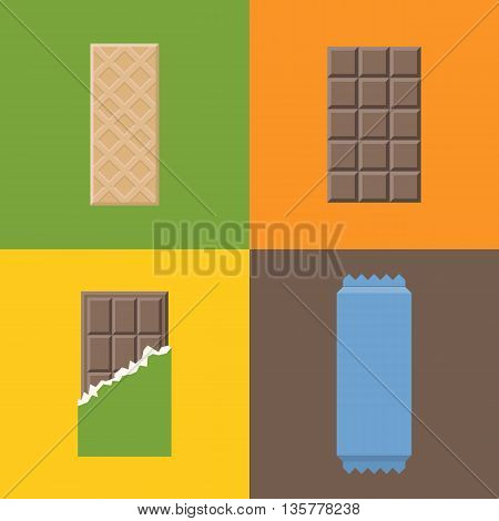 Vector wafer with chocolate, flat design with different color