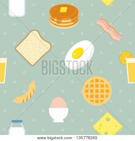 Vector breakfast pattern (pancake bacon cheese milk),seamless