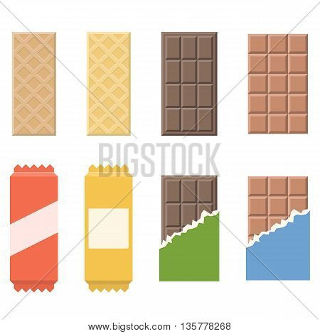 Vector chocolate and wafer icon, flat design