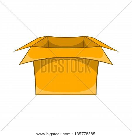 Carton box icon in cartoon style isolated on white background. Production and packaging symbol