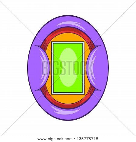 Oval football stadium icon in cartoon style isolated on white background. Sports facility symbol