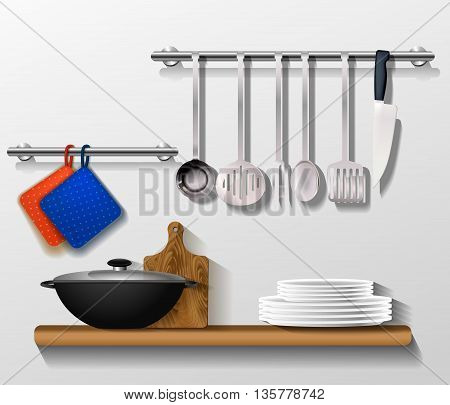 Kitchen tools with kitchenware. Shelf on a wall with utensils board and pan. Vector