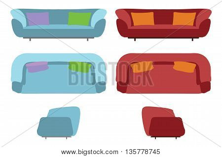 Big Sofas Set. Home Office Furniture for Your Interior Design. Flat Vector Illustration. Top, Front and Side View. Scene Creator.