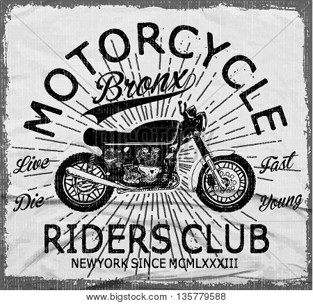 Motorcycle typography vintage motor t-shirt graphics vectors