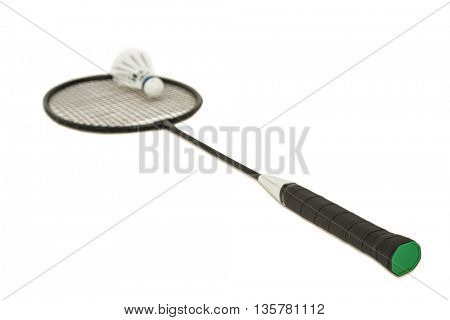 Badminton racket with feather shuttlecock on isolated white background