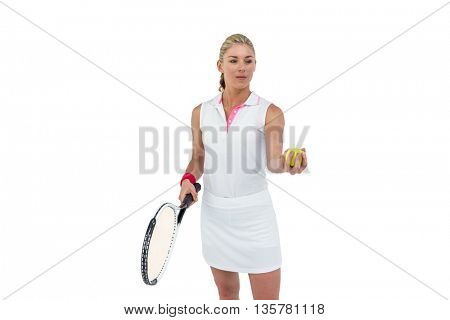 Athlete holding a tennis racquet ready to serve on white background