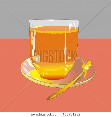 Illustration glass cup of fruit tea on a glass saucer and gold teaspoon