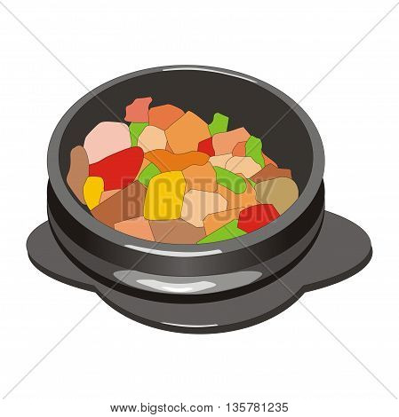 Illustration vegetable mix with meat hot pot asian cuisine