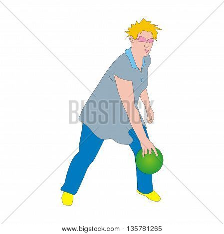 Illustration active tenpin bowler releases his bowling ball isolated on white background