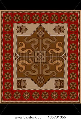 Vintage rug with ethnic pattern dragons on brown middle