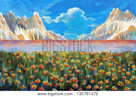 Watercolor Style Digital Artwork 17: The God's Mountain and Lake, The Paradise, The Shrine, The Holy Place, Tibet. Realistic Fantastic Cartoon Style Character, Background, Wallpaper, Story Card Design