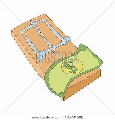 Mousetrap with money icon in cartoon style on a white background