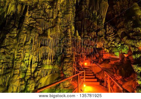 Stalagmites in the Cave of Zeus on the Crete island in Greece.