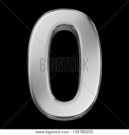 3d rendering, metal number collection - zero, from chrome solid material.