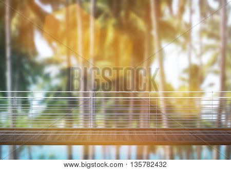 Business risk and success concept with suspended bridge with tall trees in the background and sunlight. Toned image 3D Rendering