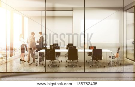 Side view of conference room interior with blank whiteboard discussing businesspeople furniture city view and sunlight. Double exposure. Mock up 3D Rendering