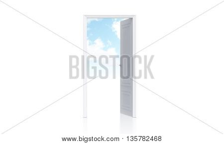 Conceptual image of open door with sky view on white wall with copy space. 3D Rendering
