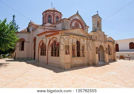 HERAKLION CRETE-JULY 25: The Monastery of Panagia Kalyviani on July 25 on the Crete island Greece. The Monastery of Panagia Kalyviani is located 60km south of Heraklion.